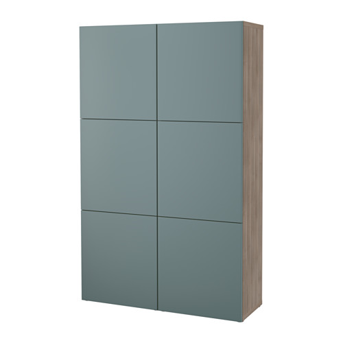 BESTÅ Storage combination with doors - walnut effect light gray/Valviken gray-turquoise