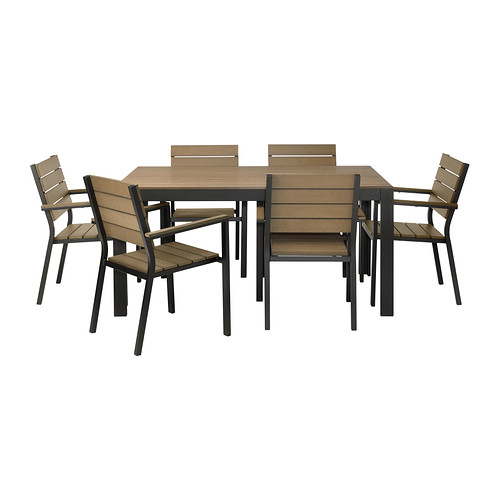 FALSTER Table+6 armchairs, outdoor - black/brown