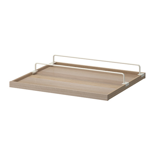 KOMPLEMENT Pull-out tray with shoe rail - white stained oak effect/white, 29 1/2x22 7/8