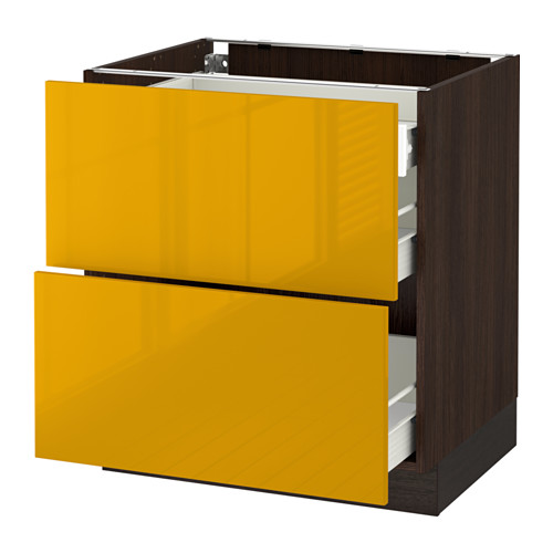 SEKTION Base cab with 2 fronts/3 drawers - wood effect brown, Järsta high gloss yellow, 30x24x30