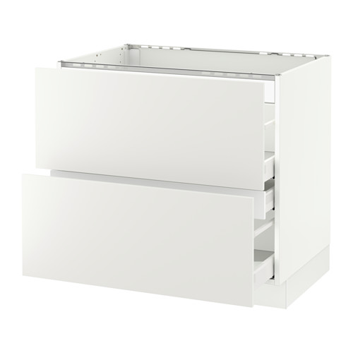 SEKTION Base cabinet f/cooktop w/3 drawers - white, Häggeby white, 36x24x30