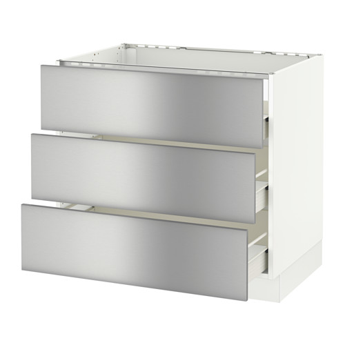 SEKTION Base cabinet f/cooktop w/3drawers - white, Grevsta stainless steel, 36x24x30
