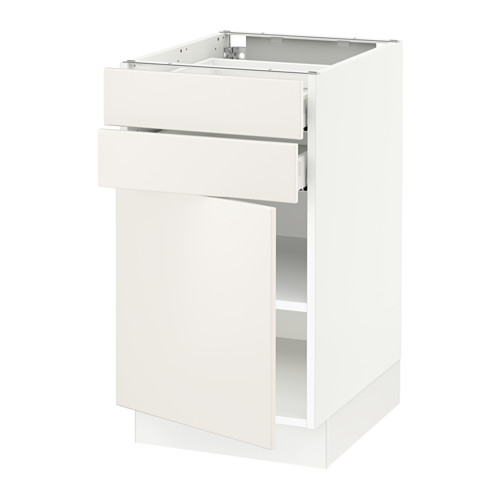 SEKTION Base cabinet w/door & 2 drawers - white, Veddinge white, 18x24x30