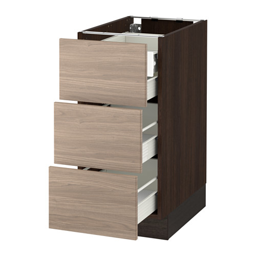 SEKTION Base cabinet w/3 fronts & 4 drawers - wood effect brown, Brokhult walnut effect light gray, 15x24x30
