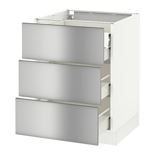 SEKTION Base cabinet w/3 fronts & 4 drawers - white, Grevsta stainless steel, 24x24x30