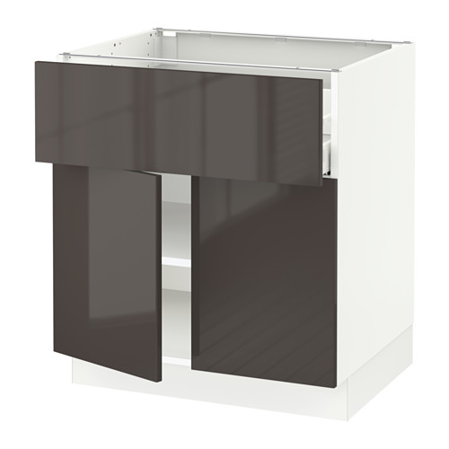 SEKTION Base cabinet with drawer/2 doors - white, Ringhult high gloss gray, 30x24x30