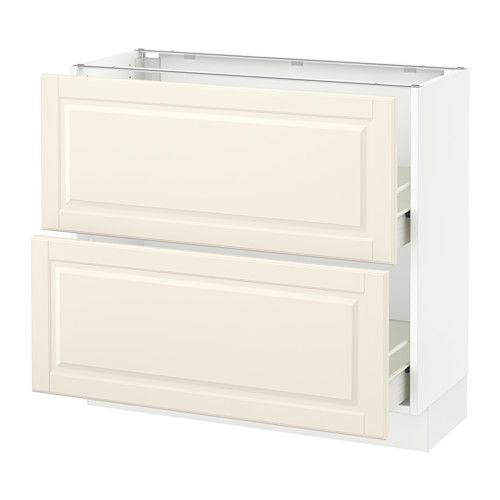 SEKTION Base cabinet with 2 drawers - white, Bodbyn off-white, 36x15x30