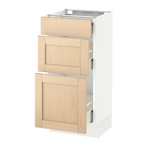 SEKTION Base cabinet with 3 drawers - white, Björket birch, 15x15x30
