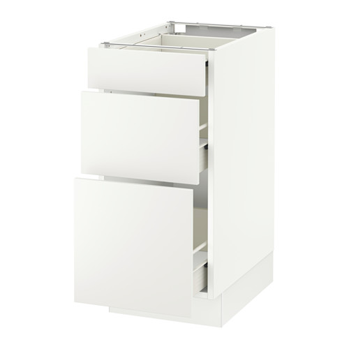 SEKTION Base cabinet with 3 drawers - white, Häggeby white, 15x24x30