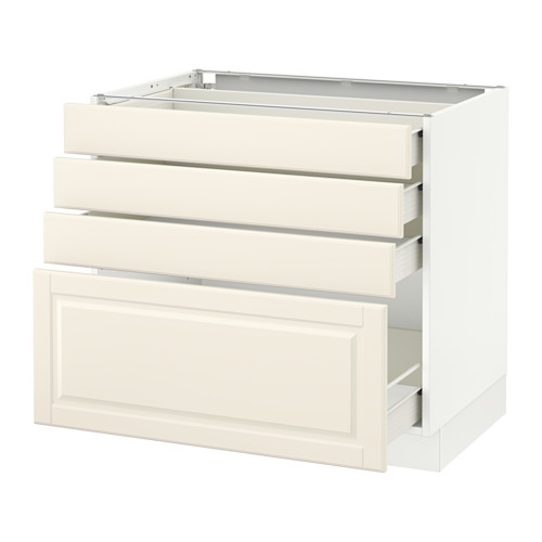 SEKTION Base cabinet with 4 drawers - white, Bodbyn off-white, 36x24x30