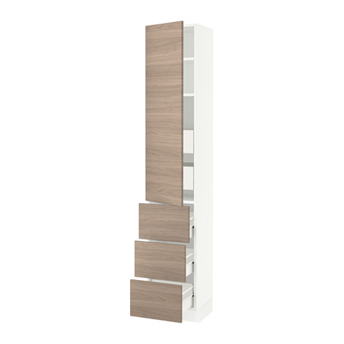 SEKTION High cabinet w/door & 5 drawers - white, Brokhult walnut effect light gray, 15x15x80
