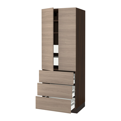 SEKTION High cabinet w/2 doors & 5 drawers - wood effect brown, Brokhult walnut effect light gray, 30x24x80
