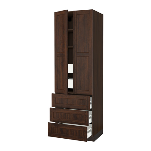 SEKTION High cabinet w/2 doors & 5 drawers - wood effect brown, Edserum wood effect brown, 30x24x90