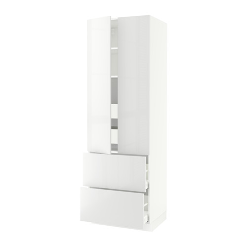SEKTION High cabinet w/2doors & 4 drawers - white, Ringhult high gloss white, 30x24x90