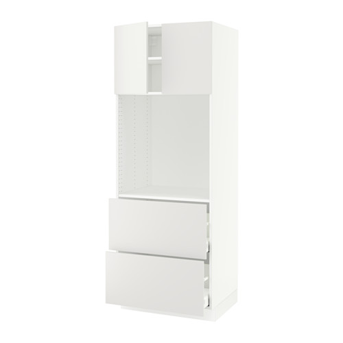 SEKTION High oven cabinet/2 drawers+2 doors - white, Häggeby white, 30x24x80