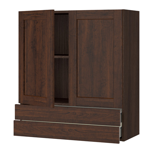 SEKTION Wall cabinet w/2 doors+2 drawers - wood effect brown, Edserum wood effect brown, 36x15x40