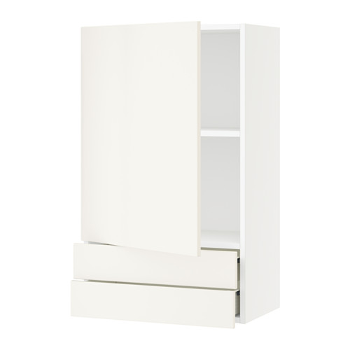 SEKTION Wall cabinet with door & 2 drawers - white, Veddinge white, 24x15x40