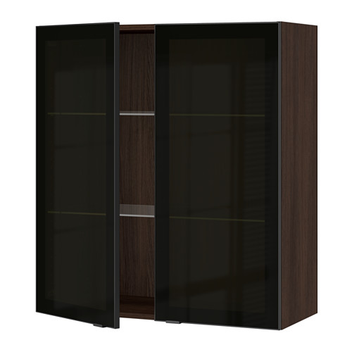 SEKTION Wall cabinet with 2 glass doors - wood effect brown, Jutis smoked glass/black, 36x15x40