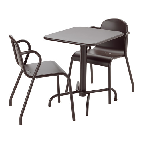 TUNHOLMEN Table+2 chairs, outdoor - dark brown